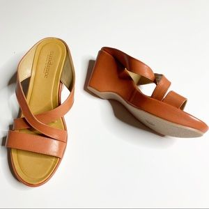 Sundance NEW leather made in Italy wedge sandals